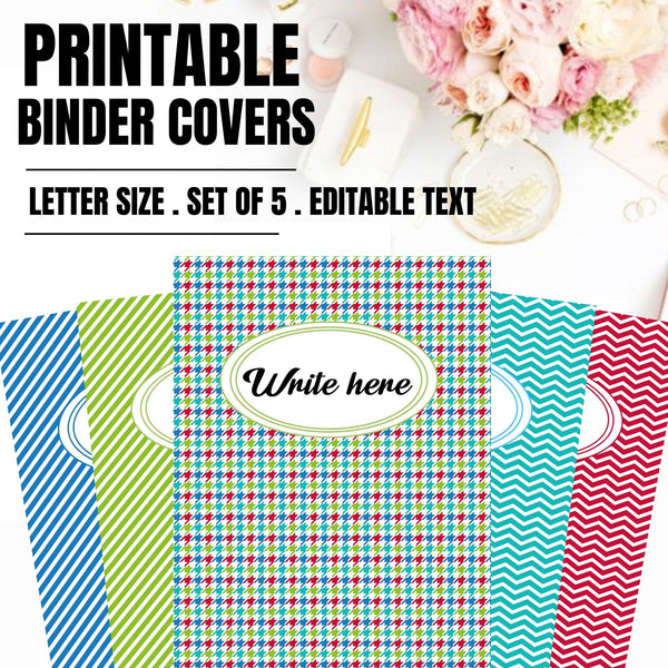 Editable Printable Binder Covers I Chevron Binder Covers I Binder Inserts