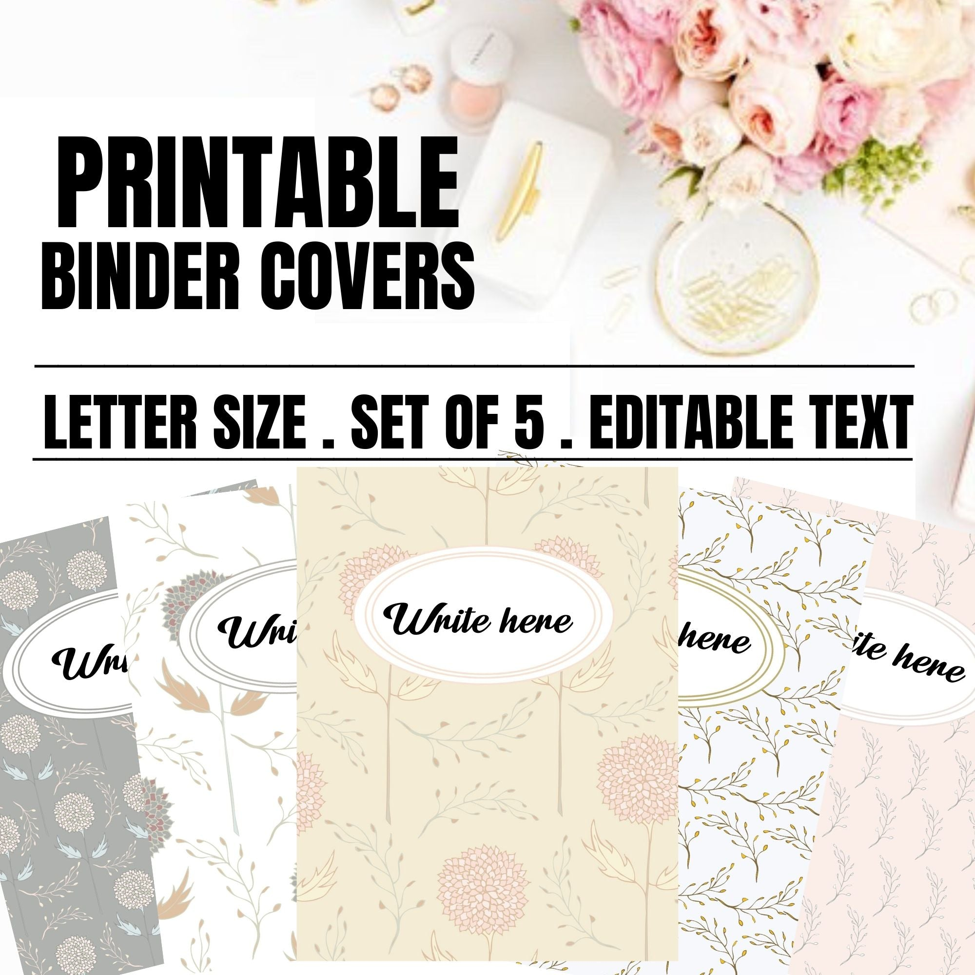 Editable Printable Binder Covers I Floral Pink Binder Covers I Binder Inserts I Printable Binder Covers and Spines I Shabby Chic Binder
