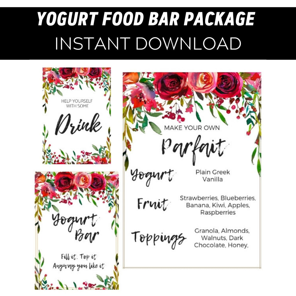 White Yogurt Red Floral Black Food Bar Printable Package
