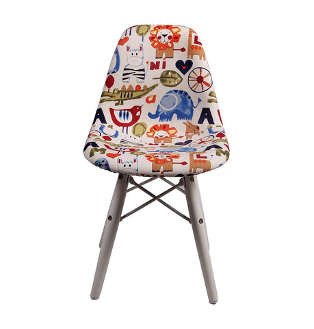 DSW Eiffel Chair for Kids - Upholstered Fabric - White Wooden Legs
