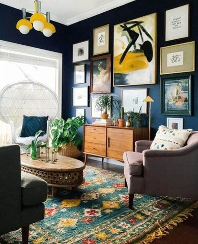 Gallery Wall on Dark Blue