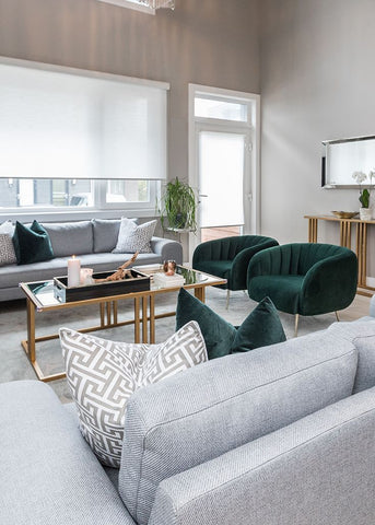 Light gray, gold and emerald green combine for the perfect Classic Modern Living Room