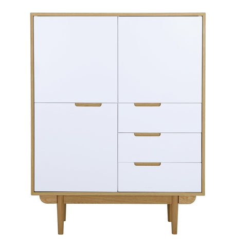 Nakula Tall Sideboard - Oak & White