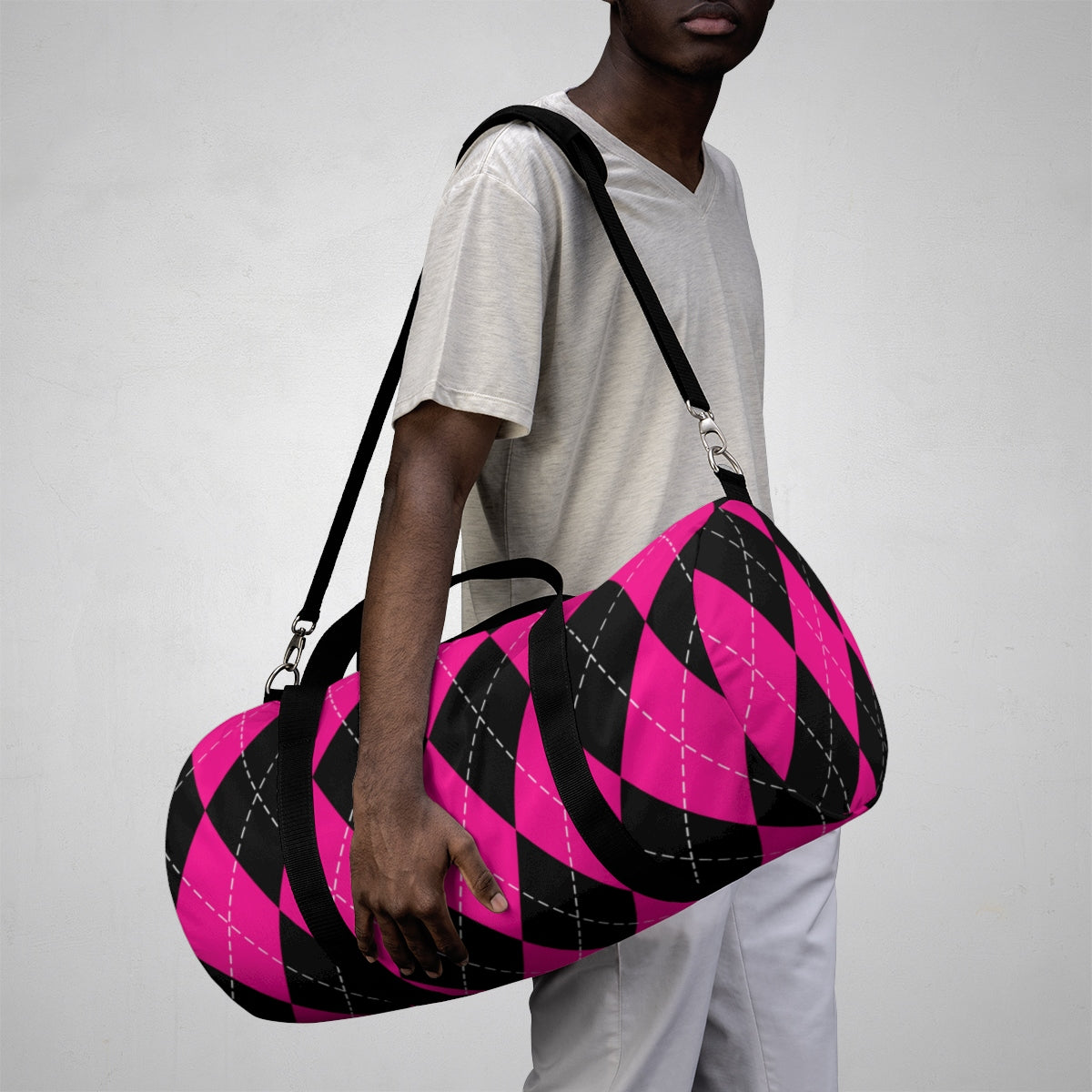 Black and Pink Argyle Pattern Gym Bag