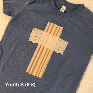 Rugged Cross YOUTH Distressed Recycled Tee, Small 6-8