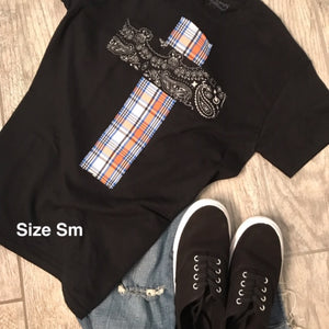 Rugged Cross Distressed Recycled Tee Gator Plaid Small