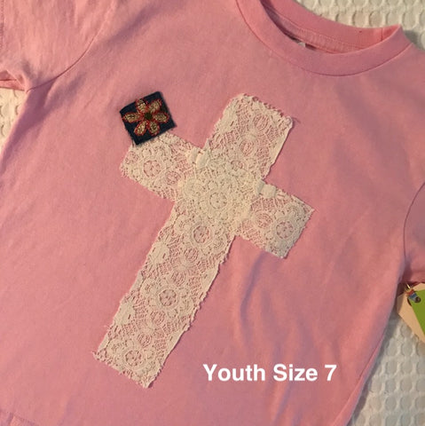 Rugged Cross KIDS Distressed Tee Pink Lace Youth 7