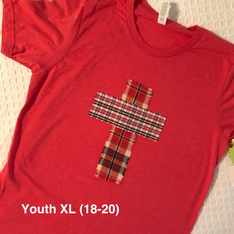 Rugged Cross KIDS Distressed Recycled Tee Vintage Red Youth XL