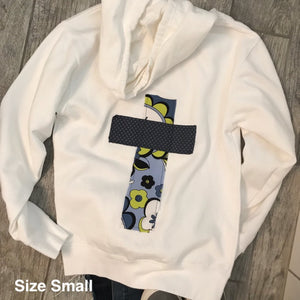 Rugged Cross Sweatshirt Hoodie, White, Size Small