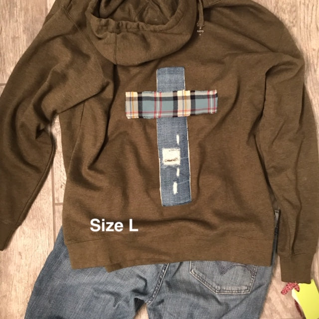 Rugged Cross Sweatshirt Hoodie, Size Large
