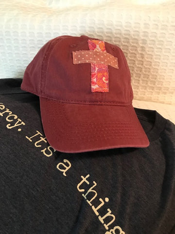 Rugged Cross Vintage Retro 100% Cotton Baseball Cap, Vintage Burgundy