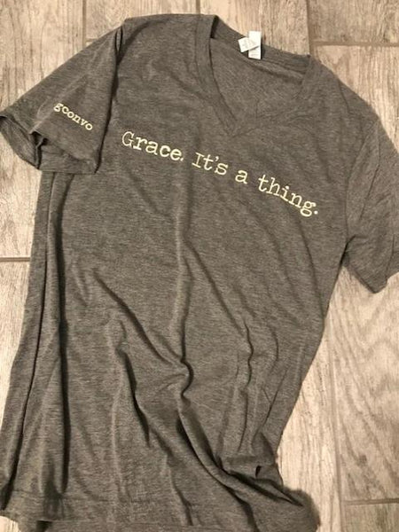 """Grace. It's a thing."" Short Sleeve Tee Shirt, V-Neck, Athletic Grey"