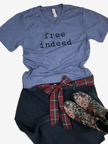 """free indeed"" Short Sleeve Tee Shirt, V-Neck, Heather Blue Tri-Blend"