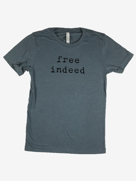 """free indeed"" Short Sleeve Tee Shirt, Crew Neck, Heather Slate Blue"