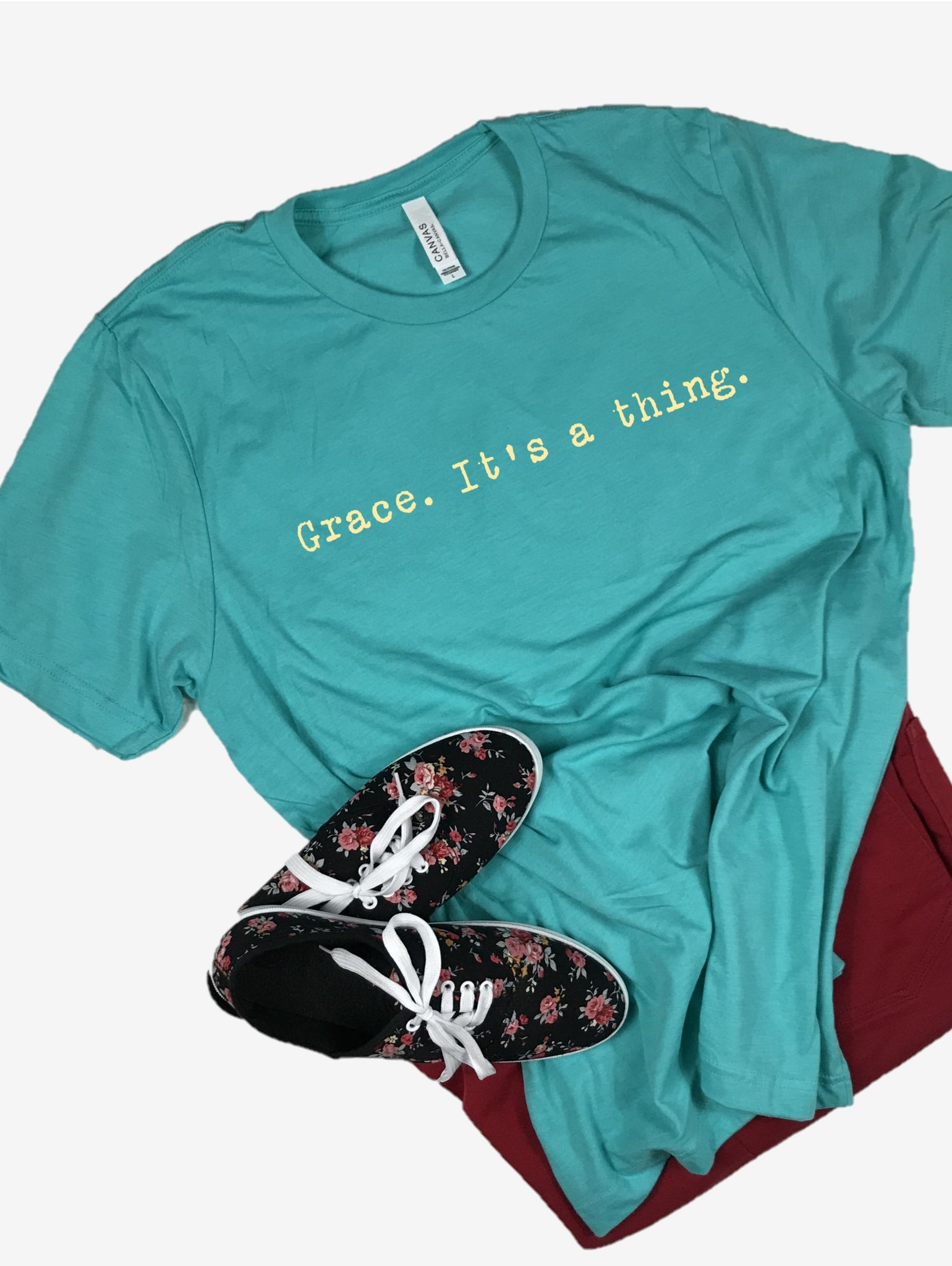 """Grace. It's a thing."" Short Sleeve Tee Shirt, Crew Neck, Sea Green"