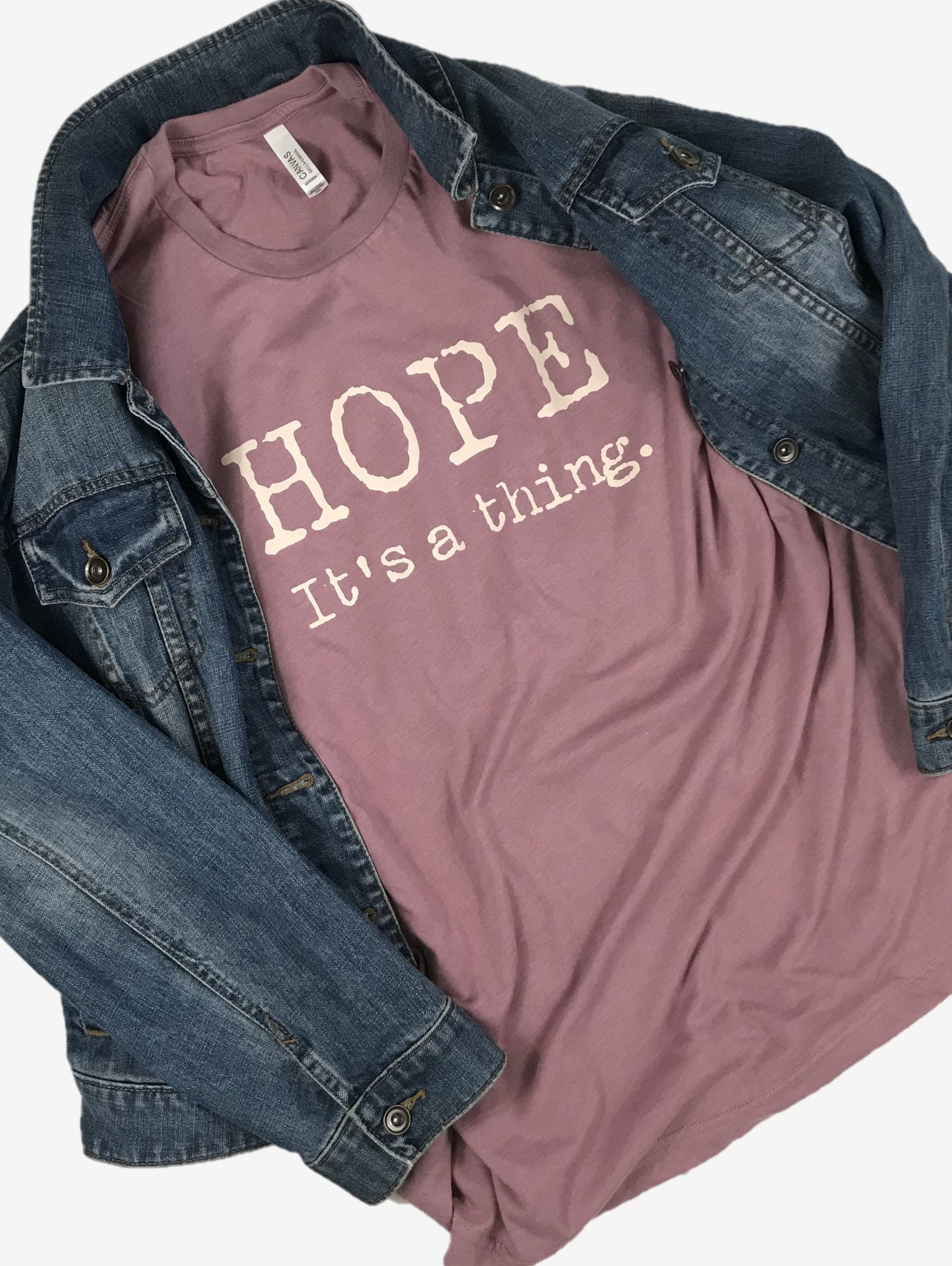 """Hope. It's a thing."" Short Sleeve Tee Shirt, Crew Neck, Heather Orchid"