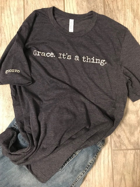 """Grace. It's a thing."" Short Sleeve Tee Shirt, Crew Neck, Heather Midnight Navy"