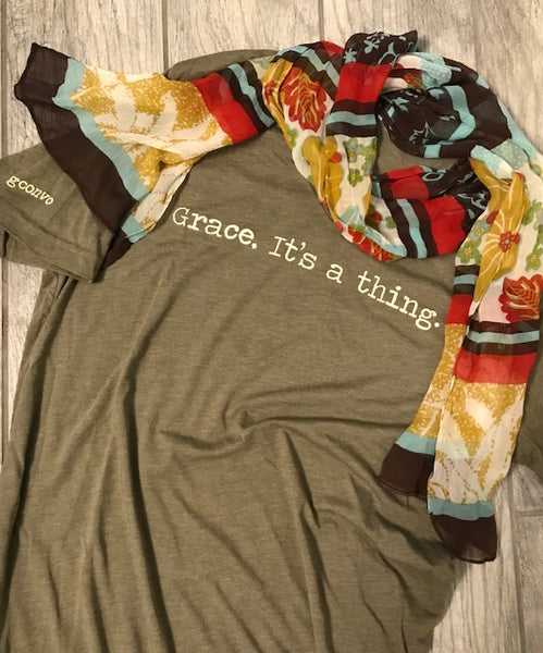 """Grace. It's a thing."" Short Sleeve Tee Shirt, V-Neck, Heather Olive"