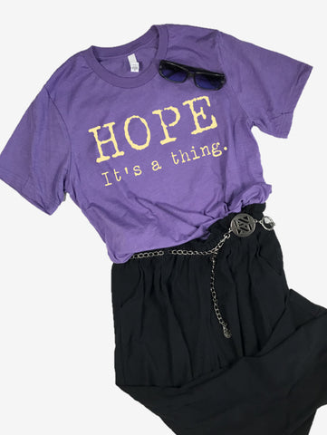 """Hope. It's a thing."" Short Sleeve Tee Shirt, Crew Neck, Heather Team Purple"