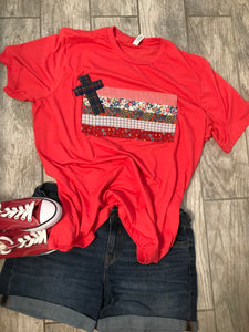 Rugged Cross Flag Tee, Short-Sleeve, Crew, Vintage Red, Size 2XL