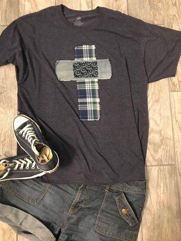Rugged Cross Distressed Recycled Tee Blue Plaid, Denim, 2XL