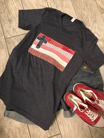 Rugged Cross Flag Tee, Short-Sleeve, Crew, Heather Navy, Size XS