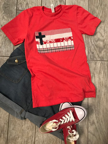 Rugged Cross Flag Tee, Short-Sleeve, Crew, Vintage Red, Size XS