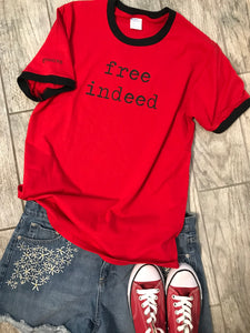 """free indeed"" Short Sleeve Ringer Tee Shirt, Crew Neck, Red/Black"