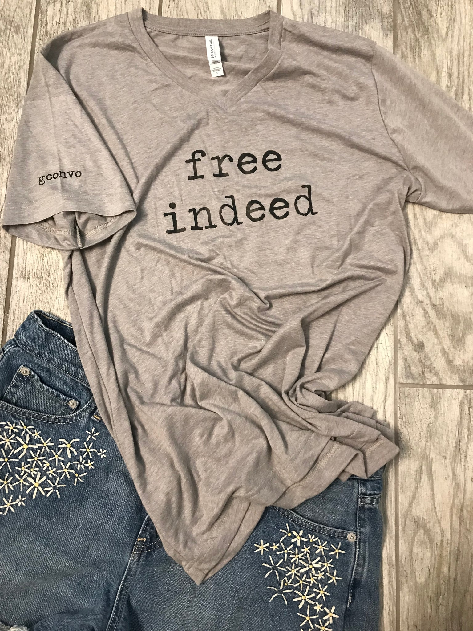"""free indeed"" Short Sleeve Tee Shirt, V-Neck, Athletic Gray"