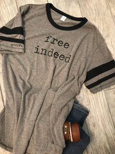 """free indeed"" Sideline Vintage Short Sleeve Tee Shirt, Vintage Coal/Black"