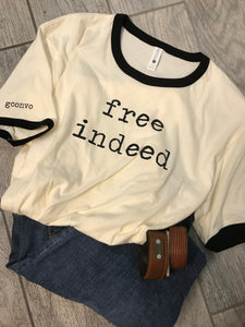 """free indeed"" Short Sleeve Ringer Tee Shirt, Crew Neck, Natural/Black"