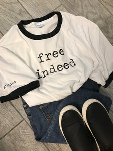 """free indeed"" Short Sleeve Ringer Tee Shirt, Crew Neck, White/Black, Port & Co."