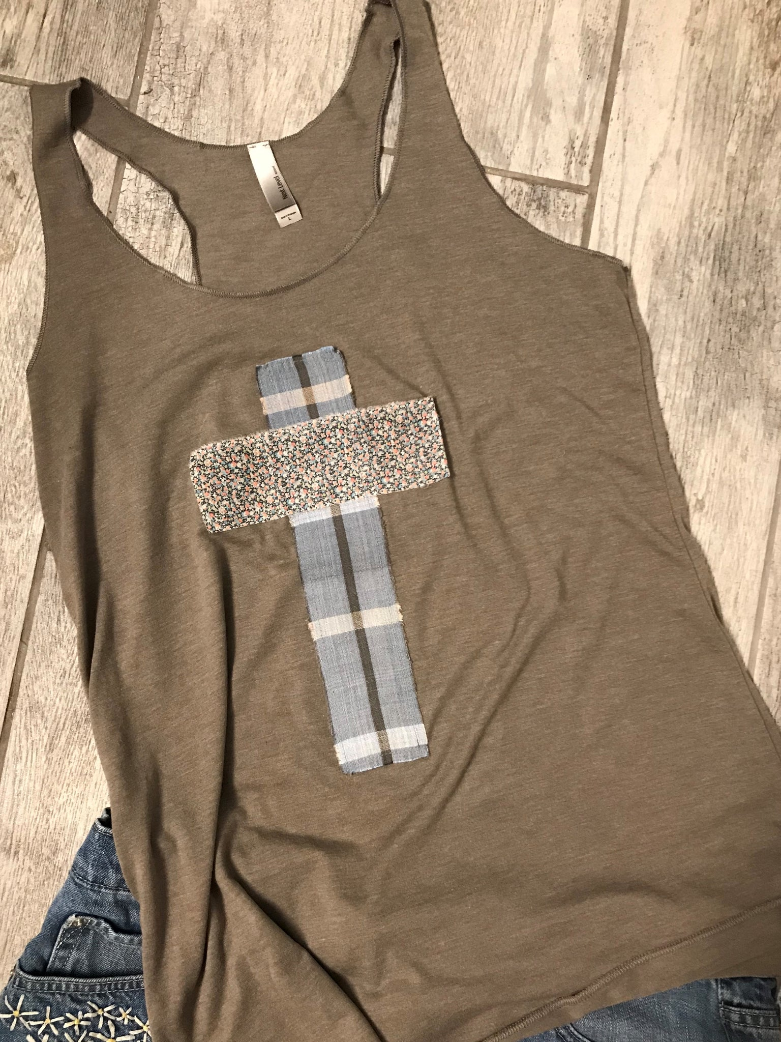 Rugged Cross Racer Back Tank Tee, Size Large