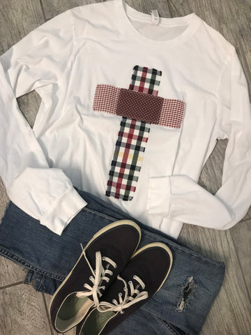 Rugged Cross Distressed Recycled Tee Plaid White Long-Sleeve, Large
