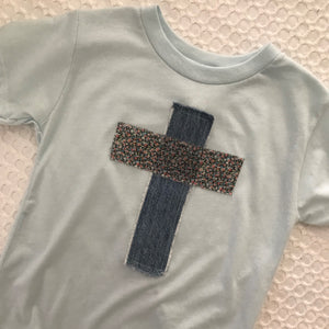 Rugged Cross KIDS Distressed Recycled Tee, Soft Blue, Size 3T
