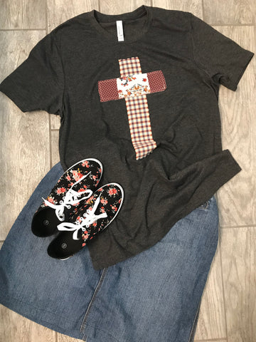 Rugged Cross Distressed Recycled Tee Dark Gray Heather, Large