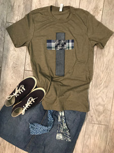 Rugged Cross Distressed Recycled Tee Heather Military Green, Denim, Medium