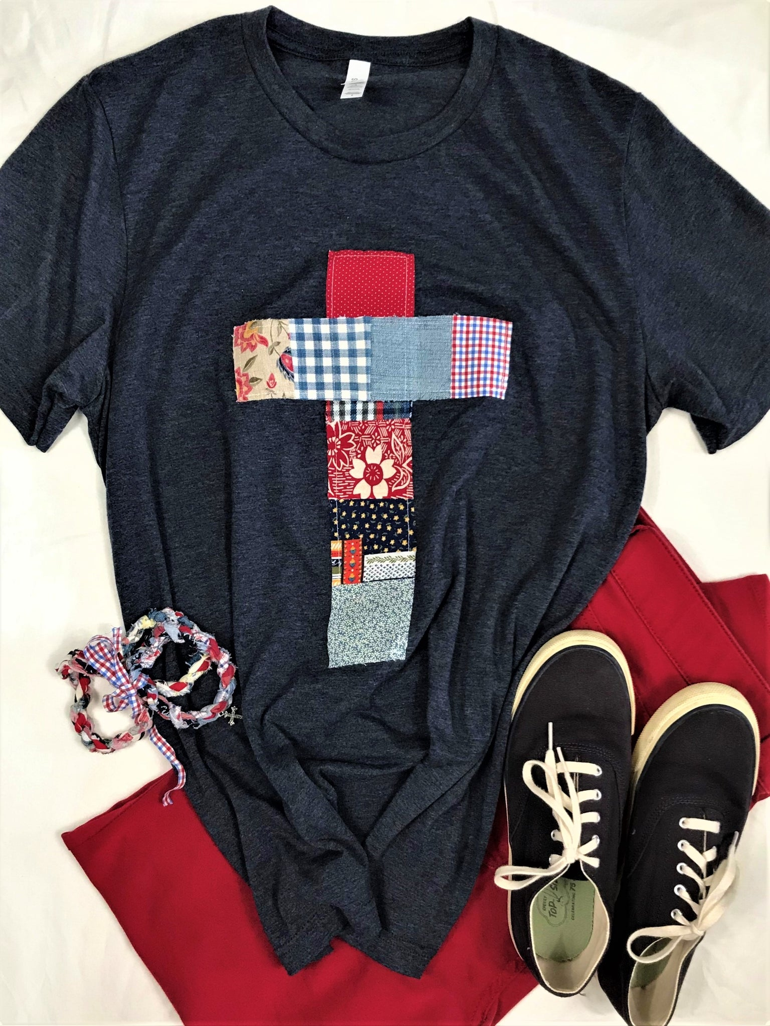 Patchwork Rugged Cross Distressed Recycled Tee; Red, White & Blue, Size Large