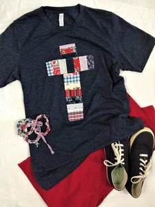 Patchwork Rugged Cross Distressed Recycled Tee; Red, White & Blue, Size Medium