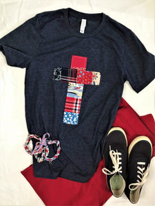 Patchwork Rugged Cross Distressed Recycled Tee; Red, White & Blue, Size Small