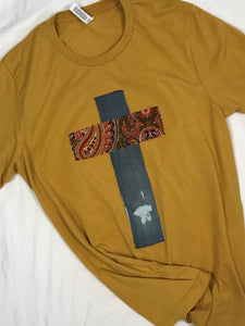 Rugged Cross Distressed Recycled Tee, Mustard, Paisley Denim, Size Large