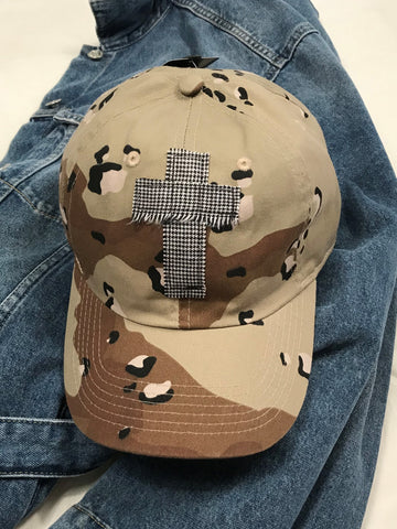 Rugged Cross Vintage Retro 100% Cotton Baseball Cap, Desert Camo Herringbone