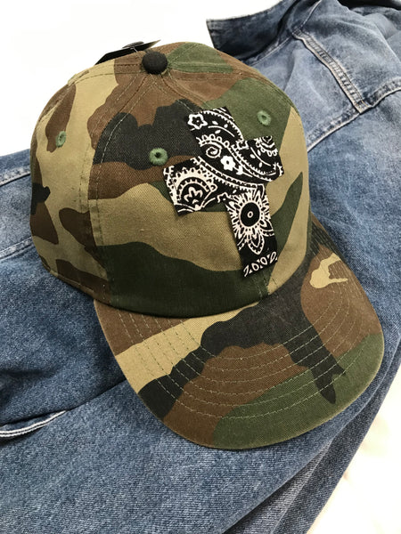 Rugged Cross Vintage Retro 100% Cotton Baseball Cap, Camo Bandana