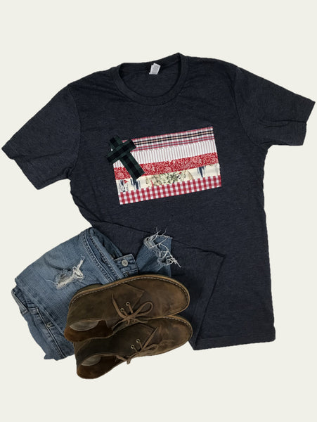 Rugged Cross Flag Tee, Short-Sleeve, Crew, Heather Navy, Size Medium
