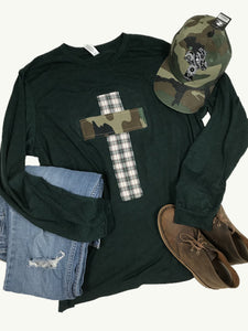 Rugged Cross Heather Forest Green, Flannel & Camo, Size XL