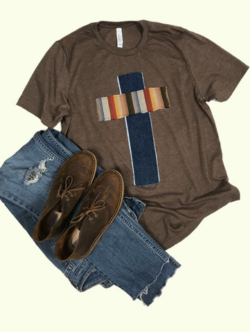 Rugged Cross Distressed Recycled Tee, Heather Brown, Denim, Stripe, Large