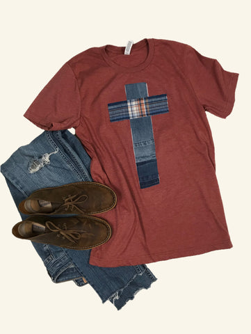 Rugged Cross Distressed Recycled Tee, Heather Autumn, Denim, Flannel, Medium