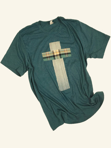 Rugged Cross Distressed Recycled Tee, Heather Deep Teal, Denim, Flannel Plaid, XL