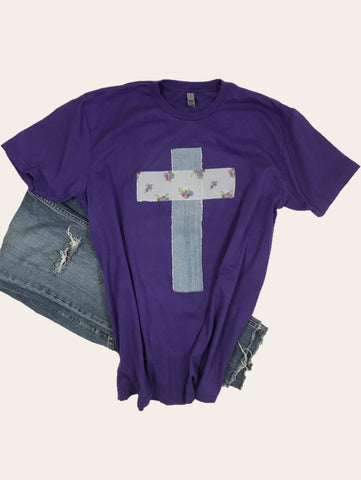 Rugged Cross Distressed Recycled Tee, Team Purple, Denim, Large