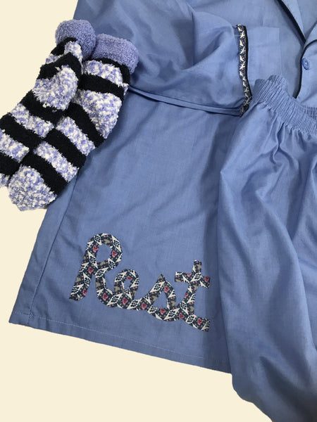 """Rest"" Pajama Set, Periwinkle Blue"